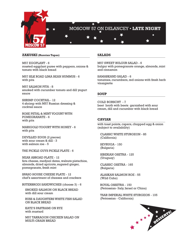 M57 Late night menu 1