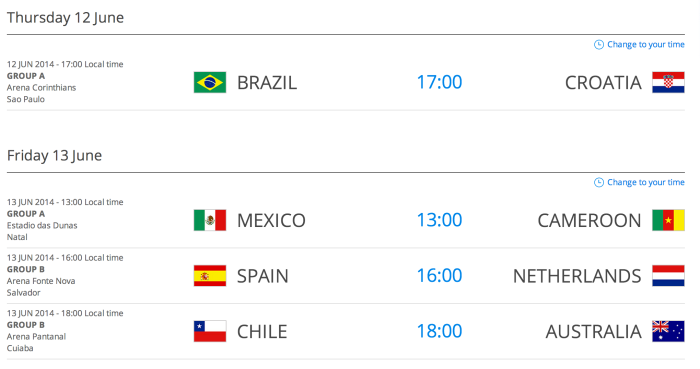 Schedule - Fifa World Cup 2014